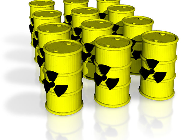 Power Grid Yellow Uranium Barrels, Set of 12 3d printed Computer render of the 12 barrels.