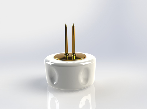 Corn Cob Holder- Tines 3d printed Glazed Ceramic Base with Gold Plated Brass tines (render)