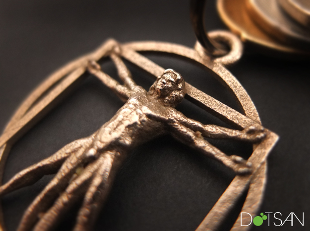 3D Printed Stainless Steel Vitruvian Man Keychain