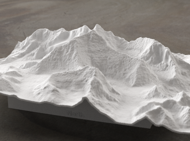 8''/20cm Mt. Everest, China/Tibet, WSF 3d printed Radiance rendering of Everest massif model from the North