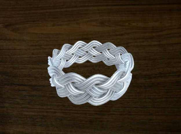 Turk's Head Knot Ring 4 Part X 13 Bight - Size 17 3d printed