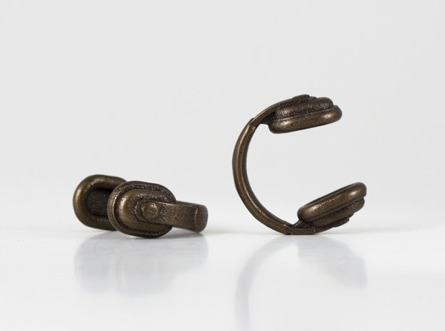 Headphones Cufflinks 3d printed Bassline Headphones Cufflinks - Antique Bronze