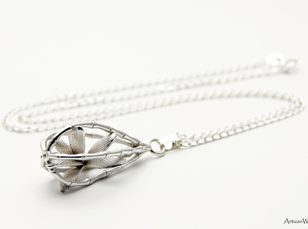 Lucky Bamboo Pendant 3d printed Shown in Premium Silver