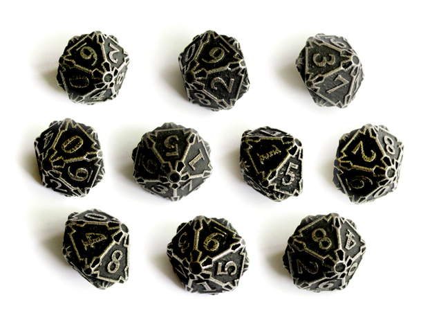 10d10 Dice Set 3d printed In stainless steel and inked.