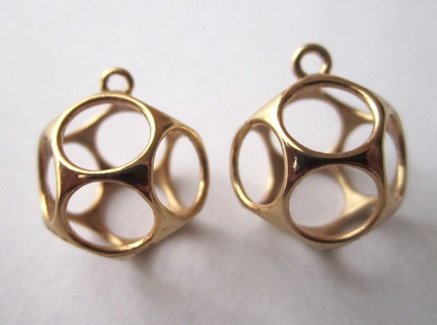 New Dod Earrings 3d printed in Gold Plated Brass (perspective view)