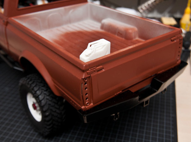 NATO 20L Jerry Can 1/10 Scale 3d printed White Strong Flexible printed version in bed of RC truck.