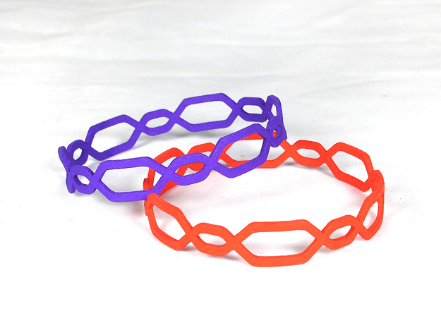 Jasmine Bangle 3d printed Jasmine in Violet and Coral Red S&F