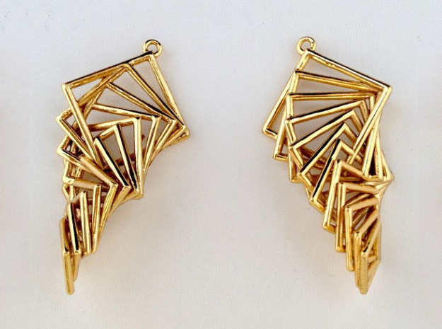 Arithmetic Earrings (Rhombus) 3d printed Gold Plated Brass