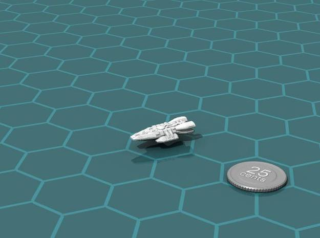 Frontier Trader 3d printed Render of the model, with a virtual quarter for scale.