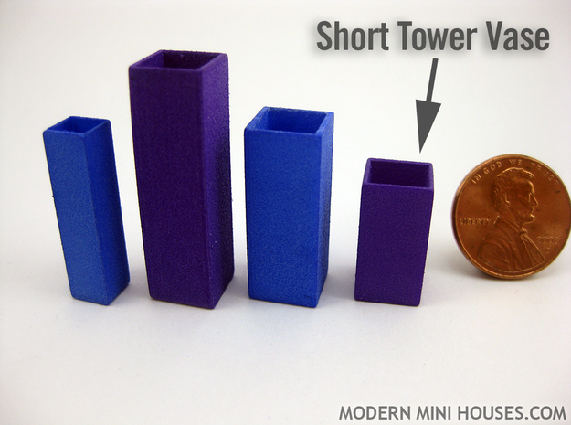 Tower Vase Short 1:12 scale 3d printed (actual material is Purple Strong & Flexible Polished)