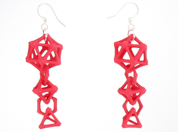 Platonic Progression Earrings - Bone 3d printed Earrings shown printed in pink Strong and Flexible, finished with silver-plated fishhook earwires