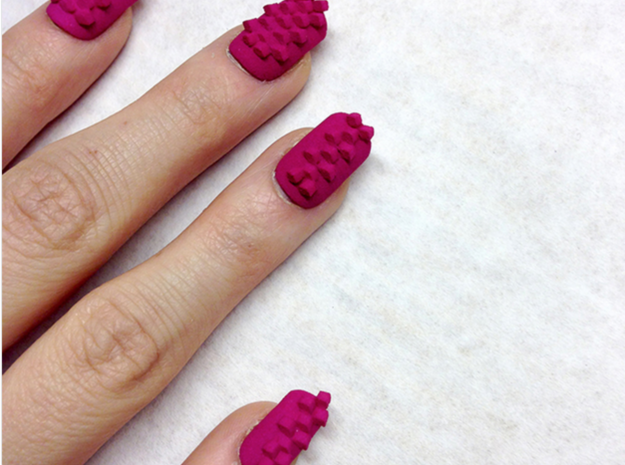 Cube Nails (Size 3) 3d printed Pink Strong and Flexible Polished