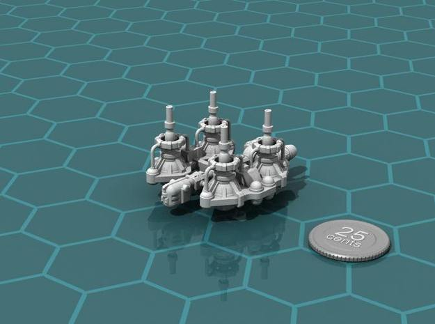 Fuel Refinery Ship 3d printed Render of the model, plus a virtual quarter for scale.