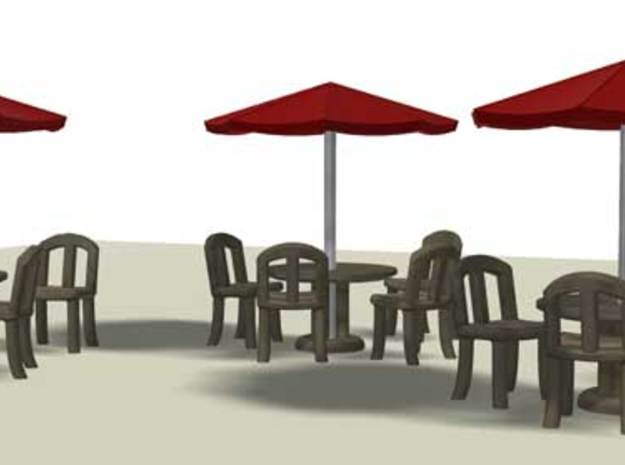Sidewalk Cafe Set x4, HO Scale (1:87) 3d printed 3D render, multiple sets of tables and chairs for sidewalk cafe.