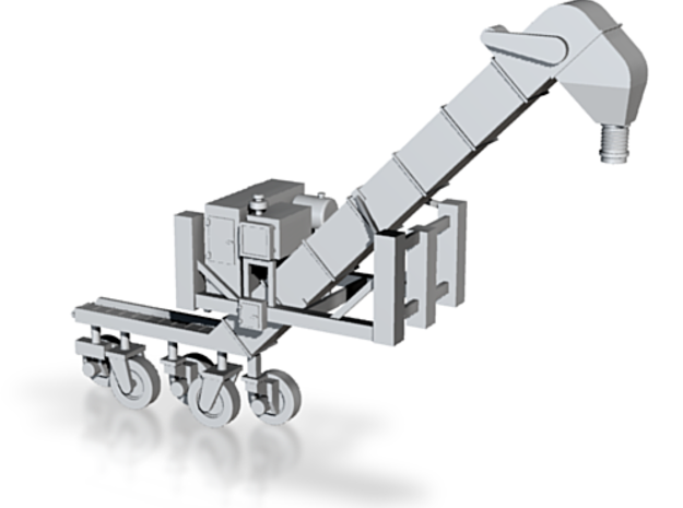 HO 1/87 Conveyor Unloader - Rail Hoppers/Road tank 3d printed The wheels need to be cut from the underside of the conveyer & push-fit into the frame. They should swivel to allow the model to be posed.