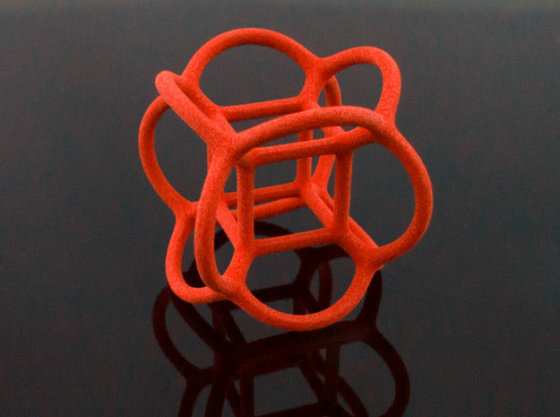 Soap Bubble Hyper Cube (S) 3d printed Printed in Polished Coral Red