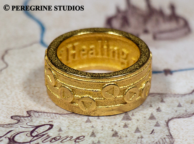 Ring - Song of Healing (Size 13) 3d printed Gold Plated Glossy