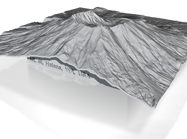 6'' Mt. St. Helens Terrain Model, Washington, USA 3d printed