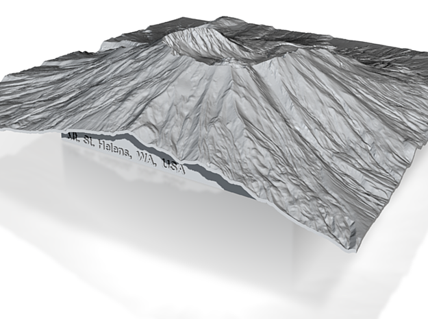 8'' Mt. St. Helens Terrain Model, Washington, USA 3d printed