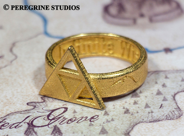 Ring - Triforce of Wisdom (Size 13) 3d printed Polished Gold Steel
