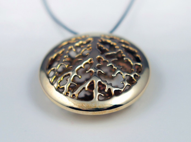 Leaf Veins Pendant 3d printed Polished Brass