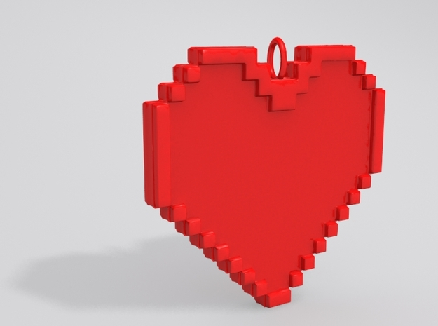 Pixel Heart Necklace Pendant or Ornament FIXED 3d printed Sample render in red