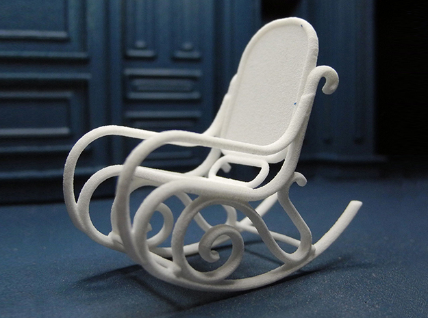 1:24 Bentwood Rocking Chair 3d printed Printed in White Strong & Flexible