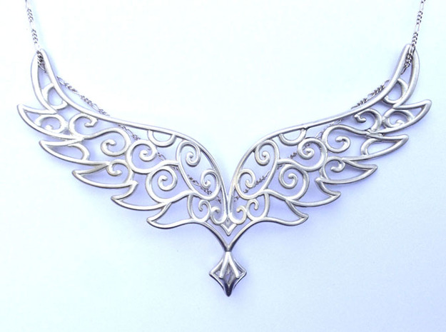 Angel Wings Pendant - precious metals 3d printed polished silver