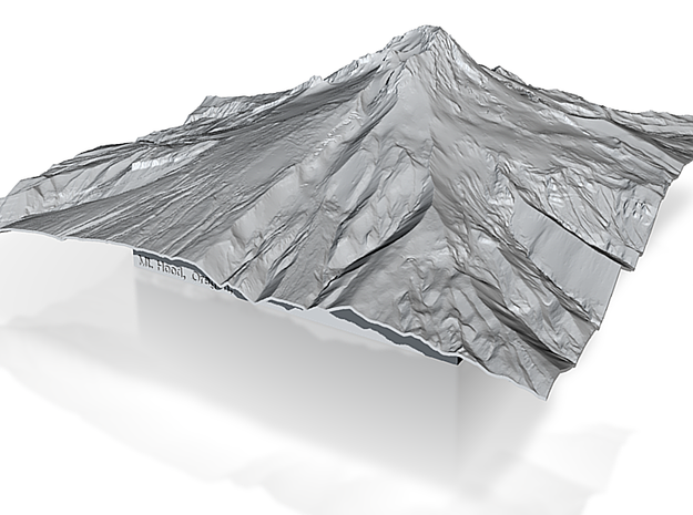 12'' Mt. Hood Terrain Model, Oregon, USA 3d printed