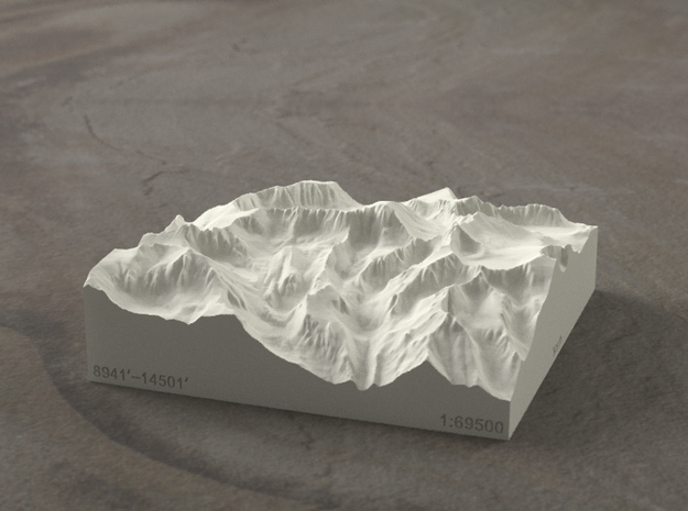 4'' Mt. Whitney, California, USA, Sandstone 3d printed Radiance rendering of model, viewed from the East, looking past Whitney Portal