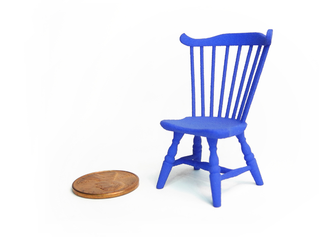 1:24 Fan Back Windsor Chair 3d printed Printed in Strong & Flexible, Dyed Blue