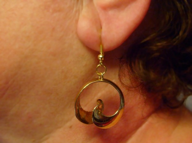 MobTor Earrings: the half Mobius Torus Shell 3d printed Hook not included