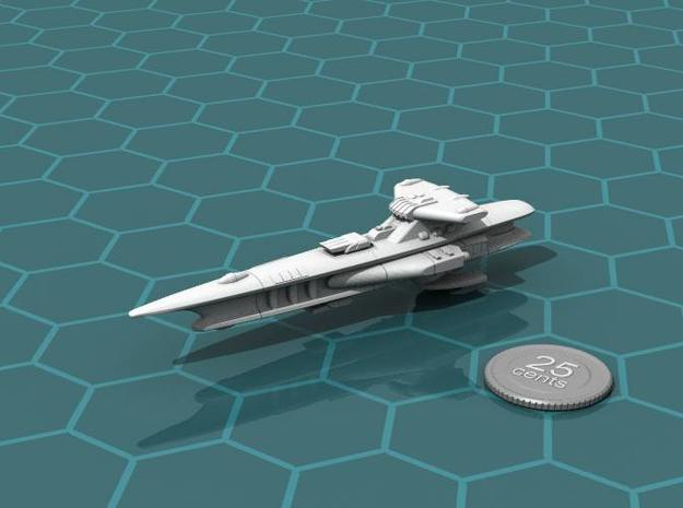 Novus Regency Fast Cruiser 3d printed Render of the model, with a virtual quarter for scale.
