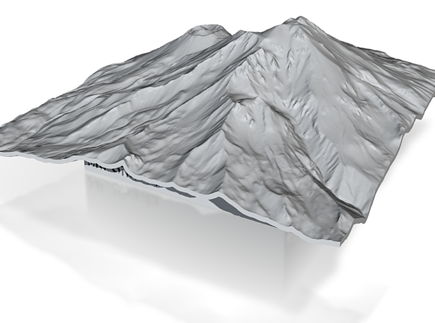 3'' Mt. Shasta Terrain Model, California, USA 3d printed
