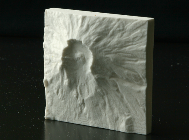 3'' Mt. St. Helens, Washington, USA, Sandstone 3d printed Photo of actual 3D print, view from overhead, North is down