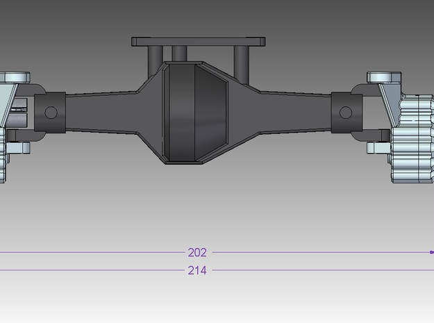 Portal Axle - Axial AX10, SCX10, 4x4x2 3d printed Front axle, steering. Width = 202mm without hex.