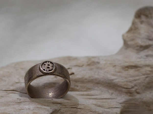 Bitcoin Ring (BTC) - Size 9.0 (U.S., 18.95mm dia) 3d printed Bitcoin Ring - Stainless steel
