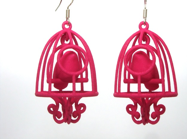 Bird in a Cage Earrings 03 3d printed