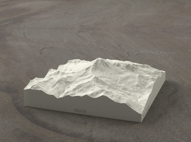 4'' Mt. Baker, Washington, USA, Sandstone 3d printed Radiance rendering of model data, viewed from the West