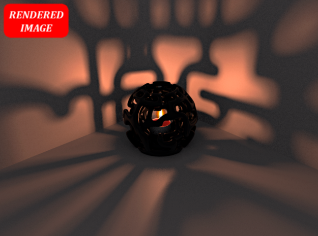 Magic Sphere Tealight Holder 3d printed Test render of the Sphere with light inside (rendered with Blender)
