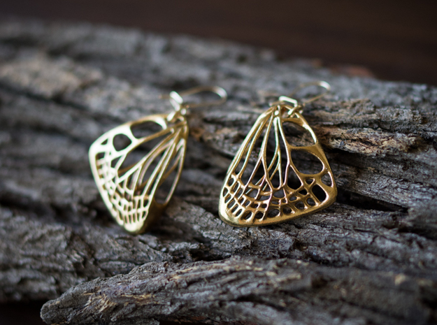 Butterfly Earrings (S) 3d printed Material: Raw Brass