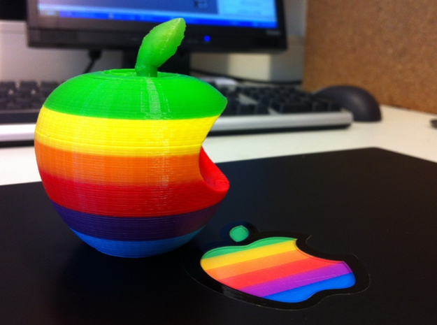 Retro Apple Logo in 3D 3d printed This is an early prototype, printed with various colors of filament on an Ultimaker