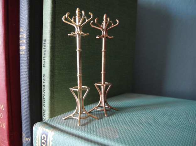 1:24 Miniature Coatrack 3d printed Left: Polished Brass - Right: Raw Bronze