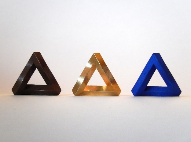 Impossible Triangle, Mini 3d printed Matte Bronze Steel, Raw Brass, and Royal Blue Strong & Flexible