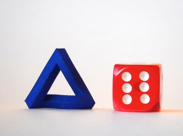 Impossible Triangle, Mini 3d printed Royal Blue Strong & Flexible