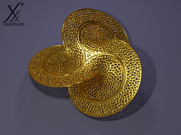 Trefoil Soap Film 3d printed Polished brass, cycle render.