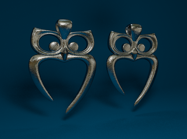 Owl Heart Earrings 3d printed