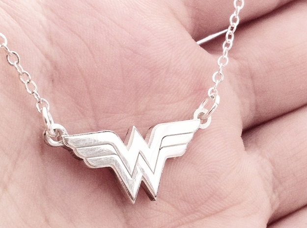 Wonder Woman Necklace 3d printed Pictured in Polished Silver