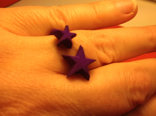 Star Ring 3d printed Shapeways printed in purple