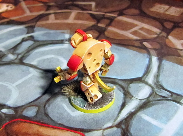 Cheese Golem 3d printed Model hand-painted & based (back), after filing and sanding (game board with flagstones copyright Plaid Hat Games).